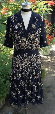 Real/True Vintage Dress - Navy and Ivory Silky Crepe circa 1940s-early 1950s