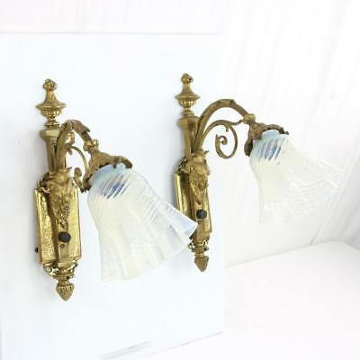 Pair Vintage French Ram's Head Bronze Sconces Opalescent Swirl Shades Victorian