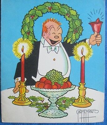 JIGGS BRINGING UP  FATHER  VINTAGE CHRISTMAS GREETING CARD 30s COLORFUL COMICS