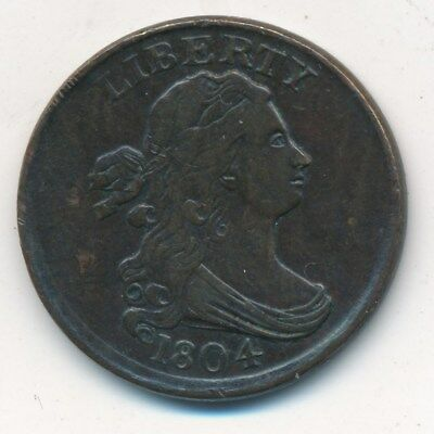 1804 Draped Bust Copper Half Cent-Very Nice Circulated Type Coin- Ships Free!