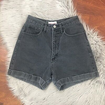 Vintage Guess High Waisted Cuffed Jean Shorts Cut 42170 Grey Size Vintage 29