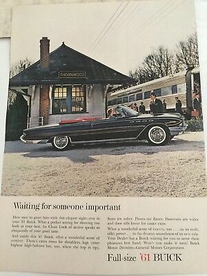 1961 BUICK Vintage Print Ad  WAITING FOR SOMEONE IMPORTANT