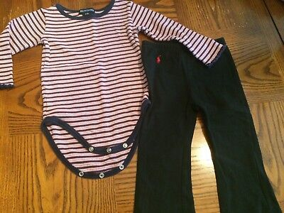 12-18 months RALPH LAUREN STRIPED ONSIE AND PANTS
