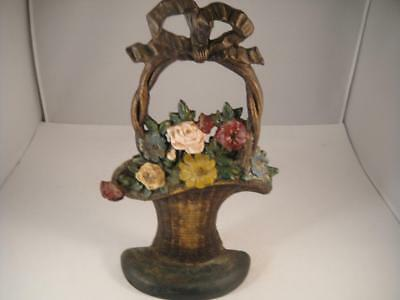 "Authentic Hubley Door Stop Basket of Flowers W/Bow 10.6"" Tall Marked on Back VGC"