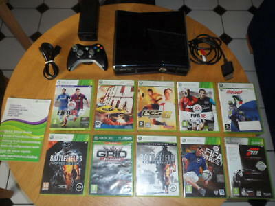 Xbox 360 S + Controller + Games + Manuals Original Microsoft Bundle HDMI