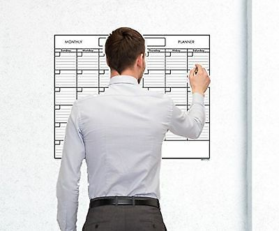 Large Blank Reusable One Month Wall Calendar Wet & Dry Erase Laminated Monthly