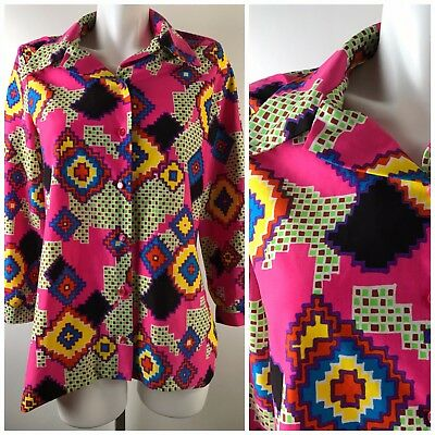 Vtg 70's Pink Geometric Polyester Womens' Blouse Top Button Down Neon Hippie