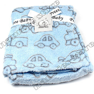 New Baby Boys Blue Blanket Soft & Cuddly Coral Fleece Blanket