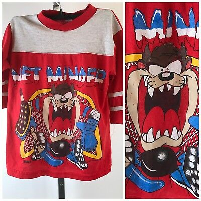 Vtg 90s Taz Hockey TShirt Net Minder Youth Large Kids Tasmanian Devil