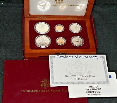 1992 **6-COIN PROOF SET** Olympic GOLD & SILVER w/BOX & COA! >>>> SEE OUR STORE!
