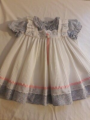 vintage infant girl floral lace ruffle pinny dress.