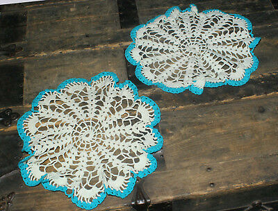 """Two Vintage Crochet Doilies White with Turquoise Scalloped Edge 10"""" Round"""