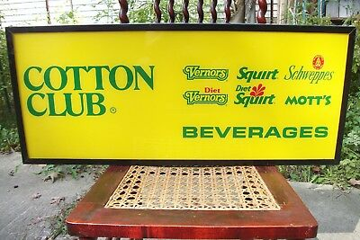 Vintage Cotton Club - Vernors - Squirt - Schweppes - Motts - Lighted Sign, Nice!