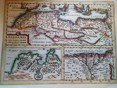 1676 Mercator Map of Barbaria, North Africa and Egypt Jan Jannson Cartographer
