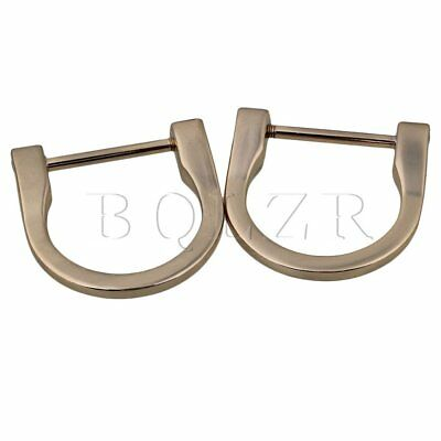 2pcs Light Gold Long D Ring Buckles 2.25cm Inside Dia Zinc Alloy DIY Tool