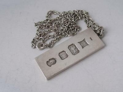Solid Sterling Silver Ingot Pendant/ L 4.7 cm on Sterling Silver Chain/ 36 g