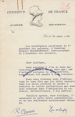 Louis de Broglie signed letter - 1929 Nobel Prize in Physics - great letterhead