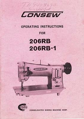 Consew 206Rb And 206Rb-1 Operation Instructions Manual In Acrobat Pdf Format