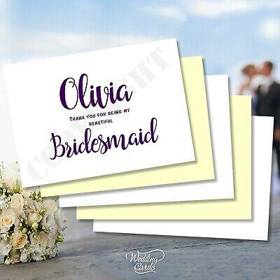 Thank You for being my Bridesmaid Maid of honour Witness Flower girl Post Card