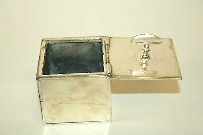 Vintage ART DECO Style CUBE Silver Metal Hinged ASHTRAY Portable Pocket Travel