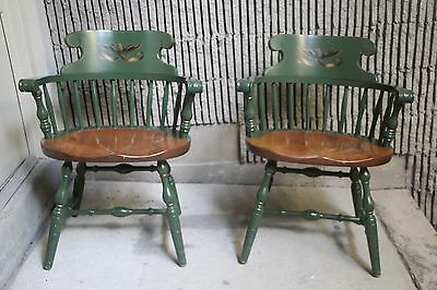 S. Bent Bros Colonial Captain Chairs (Green with Eagle Stencil) RARE - Set of 2