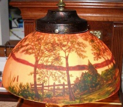 Reverse Painted Lamp Shade w Cap and Finial - Pairpoint? NR