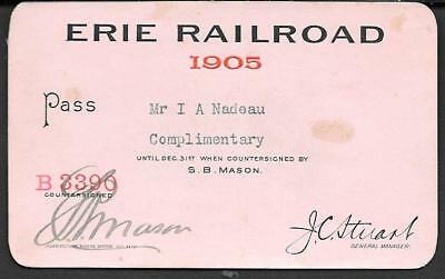 1905 Erie Railroad complimentary Pass for Mr. I. A. Nadeau