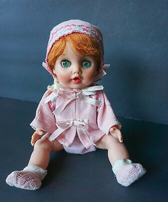 "Vintage Vinyl Red Head Baby Doll Drink & Wet 11-1/2"" Pink Outfit"