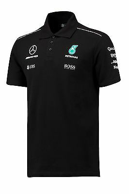 2017 OFFICIAL F1 Mercedes AMG Petronas Mens Team POLO shirt BLACK – NEW