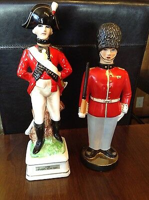 Ceramic British Red Coat Musical Whiskey Decanter And Ceramic Beefeater Figure