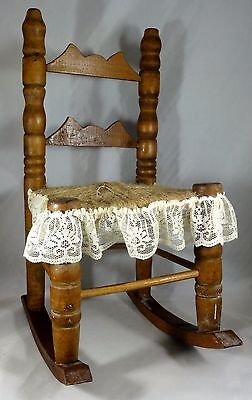"Doll Rocking Chair, Wooden, Woven Seat, 12"" Tall"