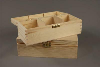 Wooden Tea Bag Box 3 Compartments Sections Storage Caddy Chest Organiser (H3)