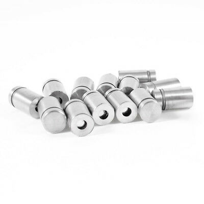 Stainless Steel Advertising Nail Screw Glass Standoff 12 x 20mm 15 Pcs