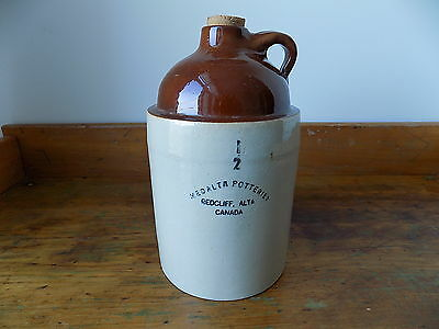 Very Rare 1/2 Gallon MEDALTA POTTERIES REDCLIFF, ALTA Stoneware Jug