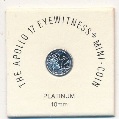 Apollo 17 Eyewitness Platinum Mini-Coin 10Mm-Franklin Mint-Pouch/coa-Ships Free!
