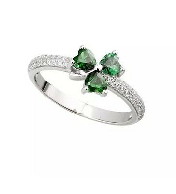 New Solvar Silver Green CZ Shamrock Ring Size 9