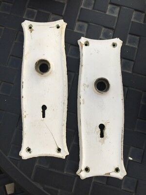 ANTIQUE Pair DOOR KNOB BACK PLATES MATCHING Shabby Chic Chippy Steel