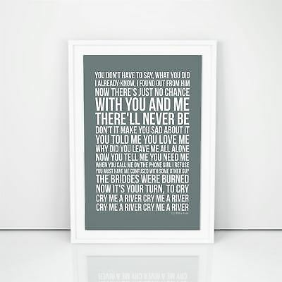 Justin Timberlake Cry Me A River Lyrics Poster Printed Wall Artwork