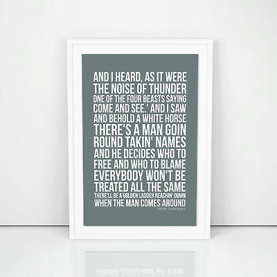 Johnny Cash The Man Comes Around Lyrics Poster Printed Wall Artwork