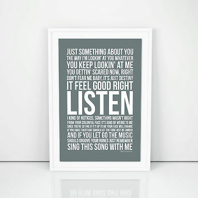 Justin Timberlake Like I Love You Lyrics Poster Printed Wall Artwork