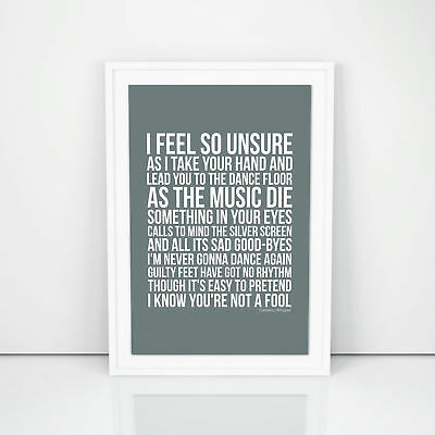 George Michael Careless Whisper Lyrics Poster Printed Wall Artwork