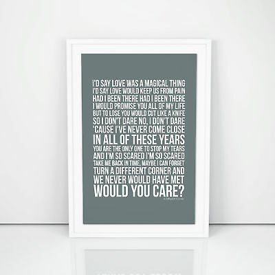 George Michael A Different Corner Lyrics Poster Printed Wall Artwork