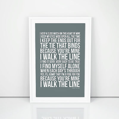 Johnny Cash I Walk The Line Lyrics Poster Printed Wall Artwork