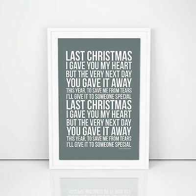 George Michael Last Christmas Lyrics Poster Printed Wall Artwork