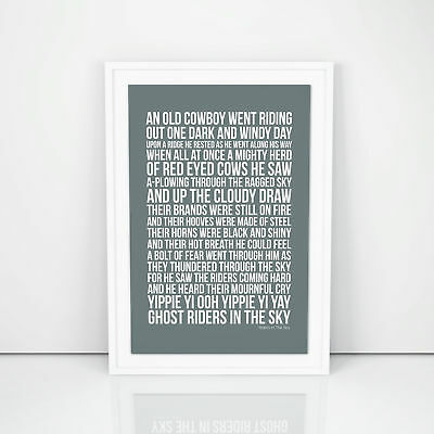 Johnny Cash Riders In The Sky Lyrics Poster Printed Wall Artwork