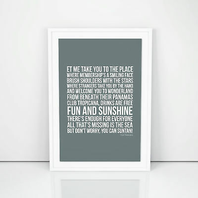 George Michael Club Tropicana Lyrics Poster Printed Wall Artwork