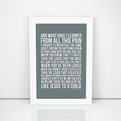 George Michael Jesus To A Child Lyrics Poster Printed Wall Artwork