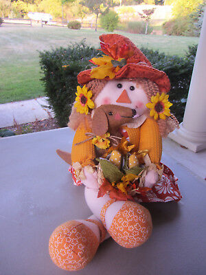 Country Scarecrow & basket of corn & Red/Brown Dachshund Autumn Harvest Decor!