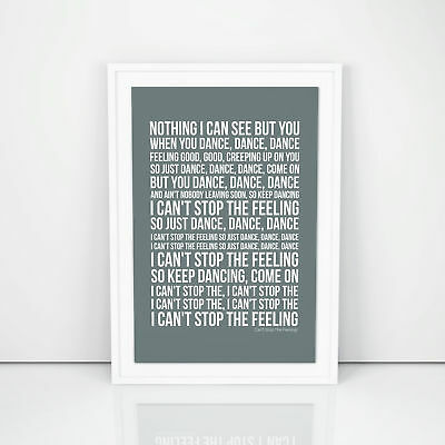 Justin Timberlake Can't Stop The Feeling! Lyrics Poster Printed Wall Artwork
