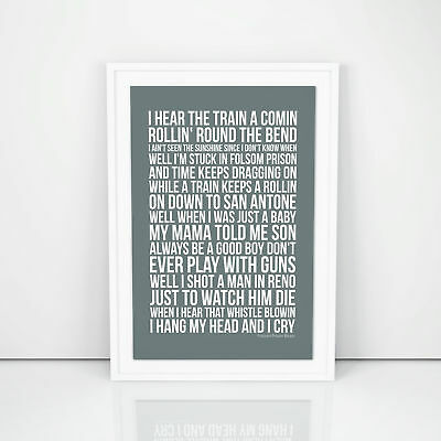 Johnny Cash Folsom Prison Blues Lyrics Poster Printed Wall Artwork